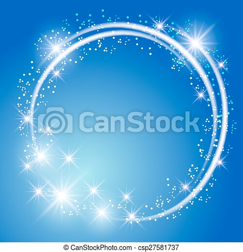 Glowing blue background with stars - csp27581737