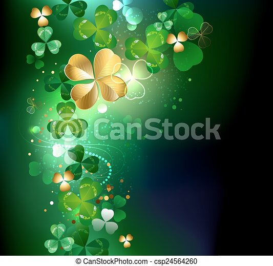 glowing golden shamrock - csp24564260