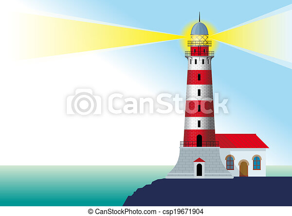 glowing lighthouse - csp19671904
