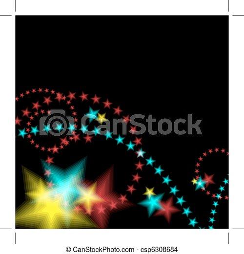 Glowing Star Fireworks Background - csp6308684