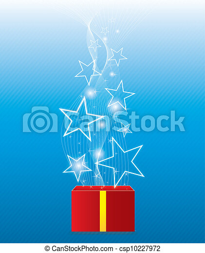 Glowing star floating from giftbox - csp10227972