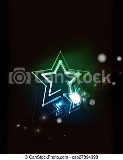 Glowing star in dark space - csp27894398