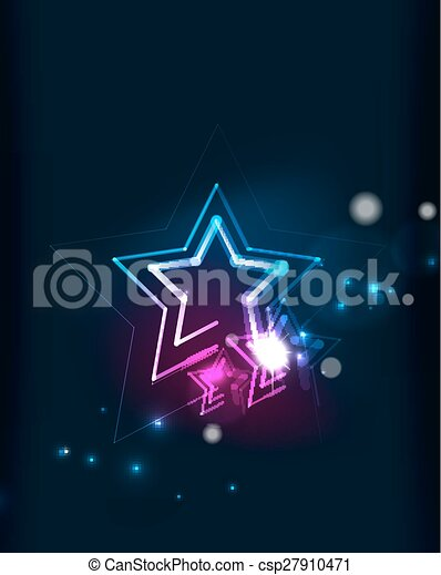Glowing star in dark space - csp27910471