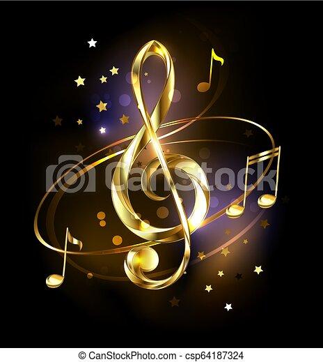 Golden musical key - csp64187324