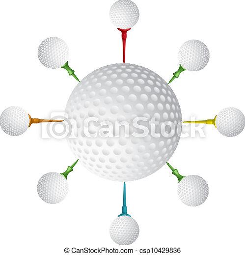 Golf ball, golf tee design, vector - csp10429836