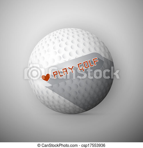Golf Ball Illustration. Abstract Vector Background. I Love Golf Title. - csp17553936