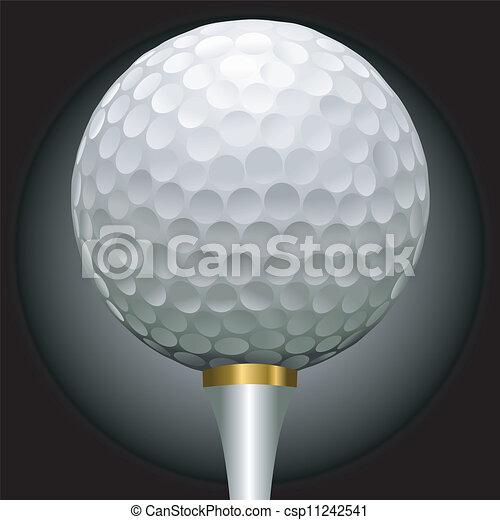 golf ball on gold tee - csp11242541