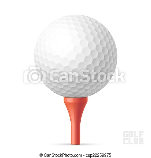 Golf ball on red tee - csp22259975