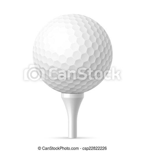Golf ball on white tee - csp22822226