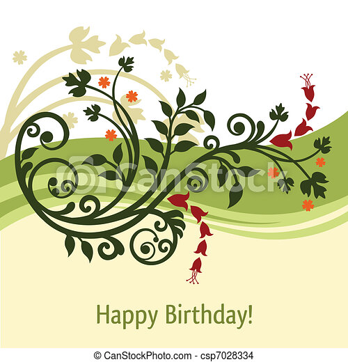 Green and yellow birthday card - csp7028334