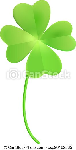 Green clover leaf quatrefoil lucky isolated on white - csp90182585