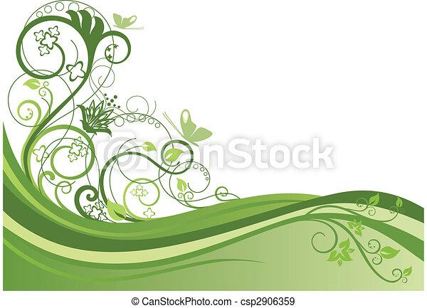 Green floral border design 1 - csp2906359