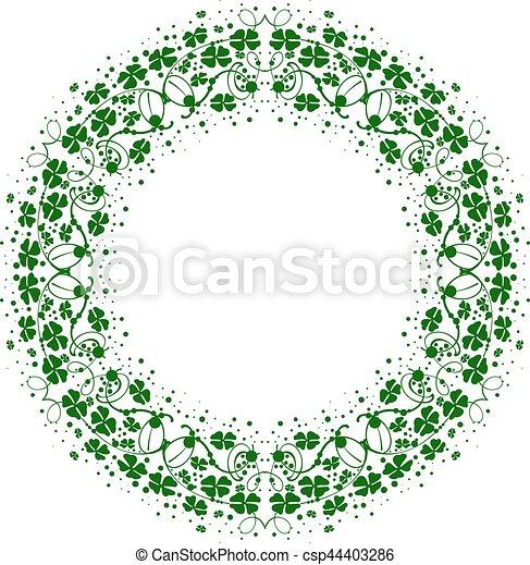 Green leaf clover round floral frame ornament - csp44403286