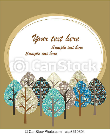 Greeting card template with trees - csp3610304