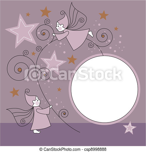 greeting card with elves - csp8998888