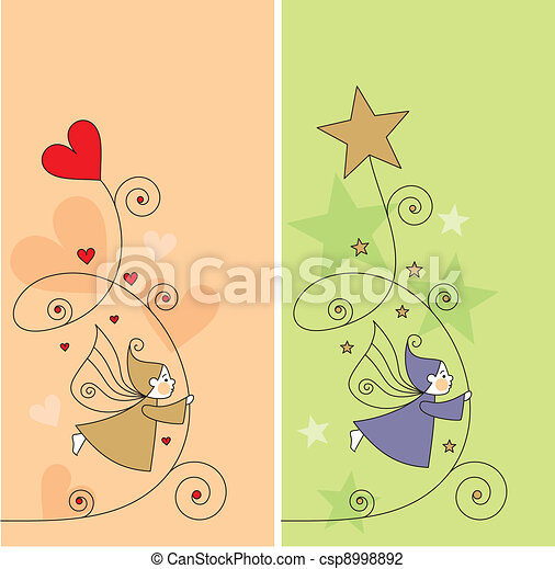 greeting card with elves - csp8998892