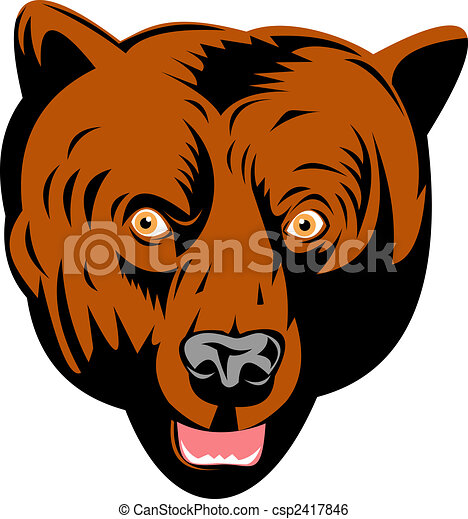 Grizzly bear head front view - csp2417846
