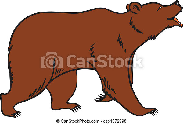 Grizzly Brown Bear Vector - csp4572398