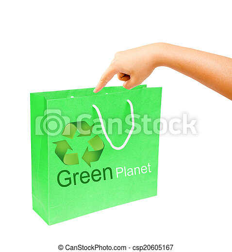 hand and blank green paper bag isolated on white background. - csp20605167