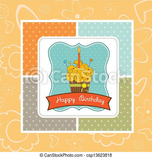 Happy Birthday cupcake - csp13623818