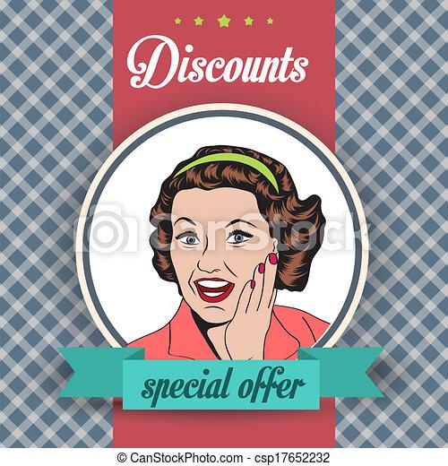 happy woman, commercial retro clipart illustration - csp17652232