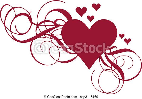 heart with swirls, vector - csp3118160