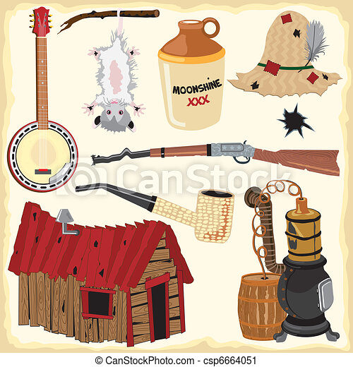 Hillbilly clipart icons and element - csp6664051