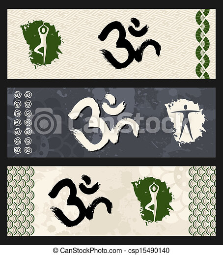 Human shape workout Om symbol yoga illustration. - csp15490140