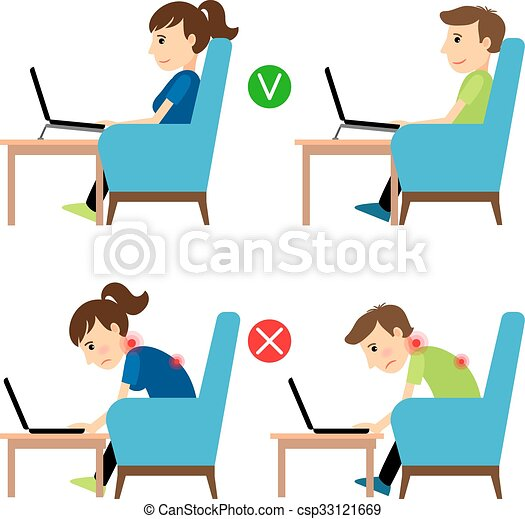 Incorrect and Correct laptop use position - csp33121669