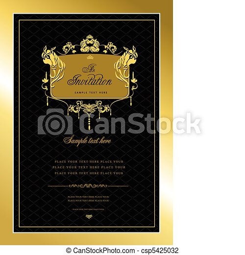 Invitation gold card. Wedding or V - csp5425032