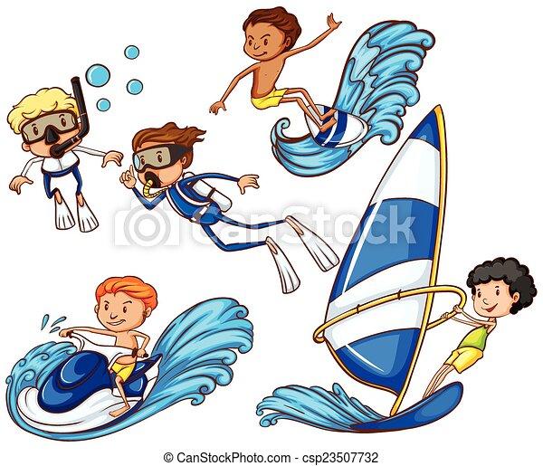 Kids enjoying the different watersports - csp23507732
