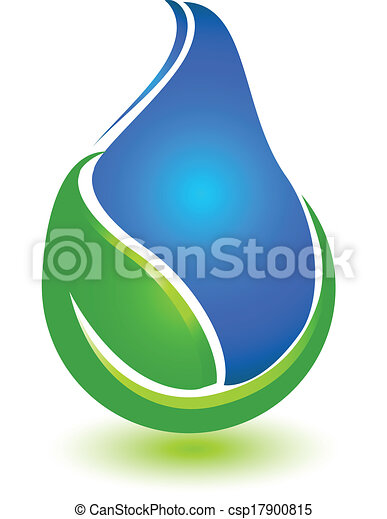 Leaf and drop water logo - csp17900815