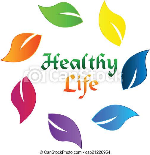 Leafs colorful healthy life logo - csp21226954