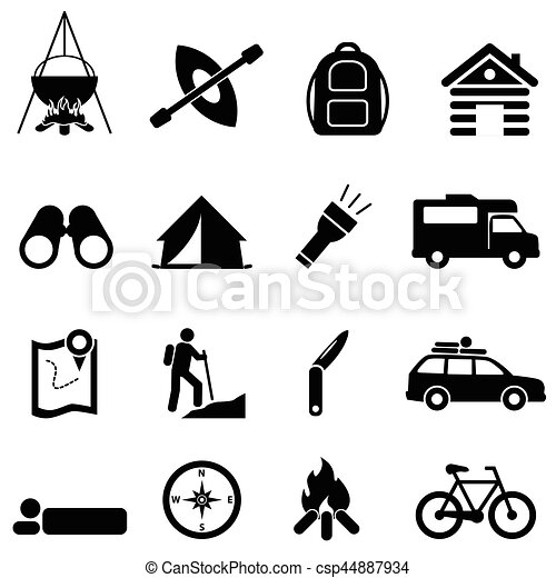Leisure, camping and recreation icons - csp44887934