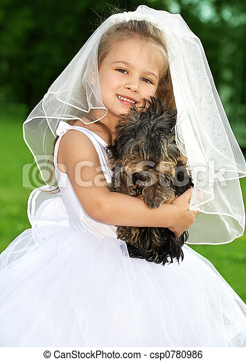 little bridesmaid with cute dog - csp0780986