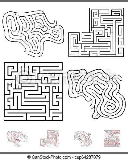 maze leisure game graphics set with solutions - csp64287079