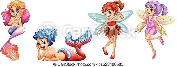 Mermaids and Fairies - csp23486585