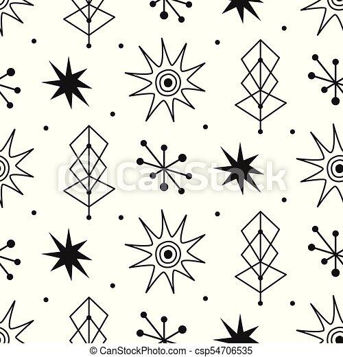 Mid century modern seamless pattern - csp54706535