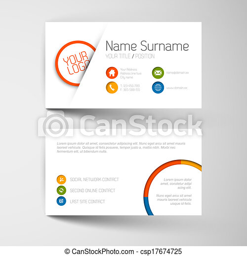 Modern business card template with flat user interface - csp17674725