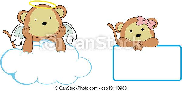 monkey angel cartoon copyspace - csp13110988