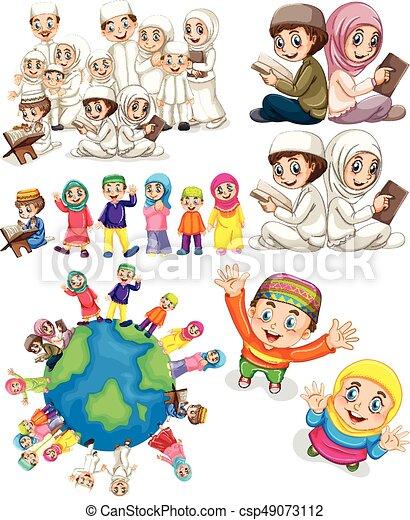 Muslim families around the world - csp49073112