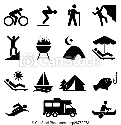 Outdoor leisure and recreation icons - csp28753273