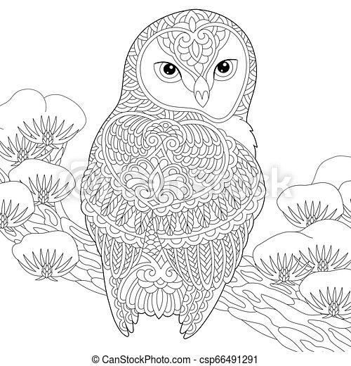 Owl coloring page - csp66491291