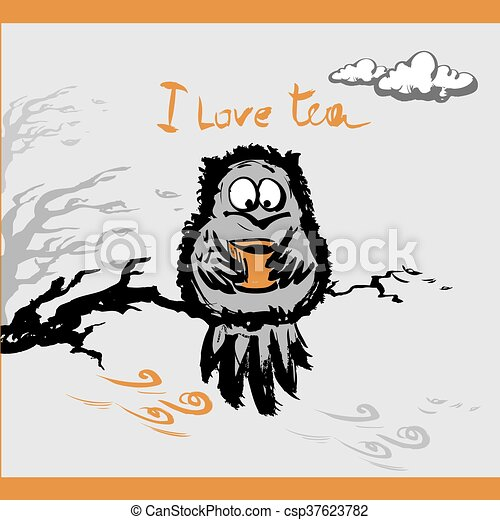 Owl with a cup tea in the autumn, vector illustration - csp37623782