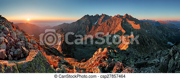 Panorama mountain autumn landscape - csp27857464