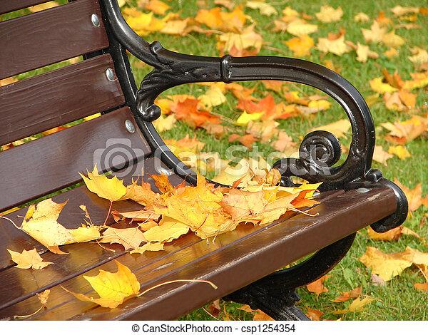 Park bench in autumn close up - csp1254354