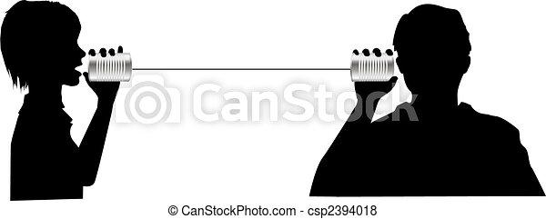 People talk listen on tin can phone communication - csp2394018