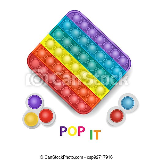 Popit and simple dimple colorful rainbow fidget sensory antistress toy pop it for kids. Vector illustration - csp92717916