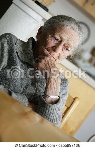 Portrait of a senior woman indoors. - csp5997126