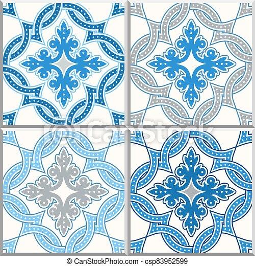 Portuguese tiles, Quatrefoil vector pattern - csp83952599